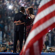 Sen. Barack Obama accepts his party's nomination as the Democratic candidate for President on the fourth day of the Democratic National Committee (DNC) Convention at Invesco Field in Denver, Colorado (CO), Thursday, Aug. 28, 2008.   Also pictured are Michelle Obama, Joe Biden, and Jill Biden...Photo by Khue Bui