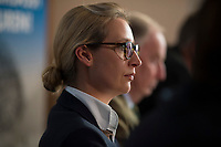 DEU, Deutschland, Germany, Berlin, 18.09.2017: Alice Weidel, Spitzenkandidatin der Partei Alternative für Deutschland (AfD) zur Bundestagswahl, bei einer Pressekonferenz zur Islamischen Zuwanderung und Kriminalität.