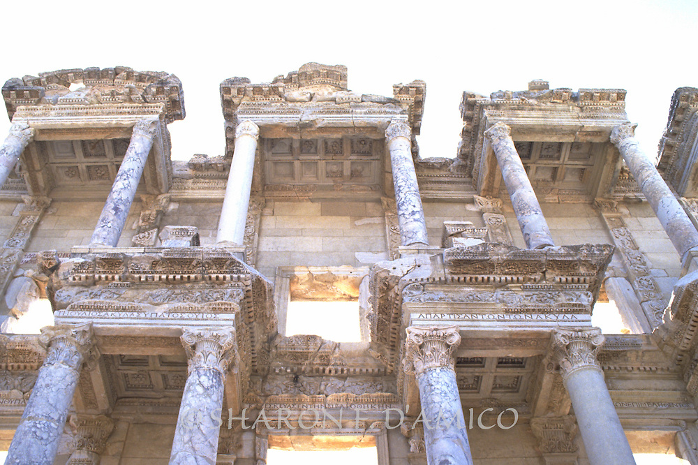Corinthian Columns and Facade of Restored Ancient Roman Library