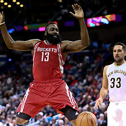 Jan 25, 2016; New Orleans, LA, USA; Houston Rockets guard James Harden (13) looses the ball as he drives to the basket against the New Orleans Pelicans during the second quarter of a game at the Smoothie King Center. Mandatory Credit: Derick E. Hingle-USA TODAY Sports