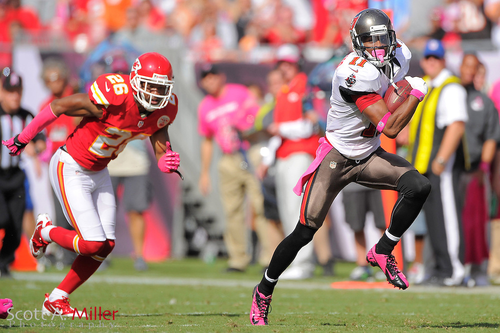 Tampa Bay Buccaneers wide receiver Tiquan Underwood (11) runs upfield during the Bucs 38-10 win over the Kansas City Chiefs at Raymond James Stadium  on Oct. 14, 2012 in Tampa, Florida. ..©2012 Scott A. Miller...
