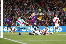 March 9, 2019 - Barcelona, Catalonia, Spain - FC Barcelona midfielder Ivan Rakitic (4), Rayo Vallecano defender Emiliano Velazquez (20) and Rayo Vallecano goalkeeper Stole Dimitrievski (13) during the match FC Barcelona v Rayo Vallecano, for the round 27 of La Liga played at Camp Nou  on 9th March 2019 in Barcelona, Spain. (Credit Image: © Mikel Trigueros/NurPhoto via ZUMA Press)