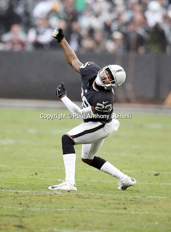 Oakland Raiders cornerback David Amerson (29) celebrates after breaking up a pass intended for Green Bay Packers wide receiver James Jones (89) in the second quarter during the 2015 week 15 regular season NFL football game against the Green Bay Packers on Sunday, Dec. 20, 2015 in Oakland, Calif. The Packers won the game 30-20. (©Paul Anthony Spinelli)