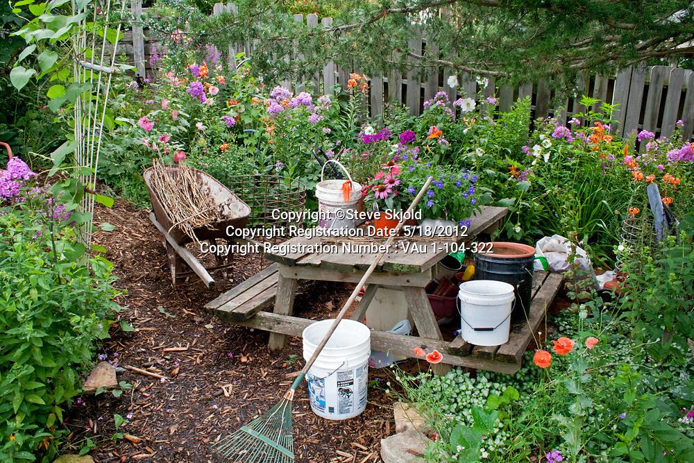 Flower garden work area and table. Lanesboro Minnesota MN USA