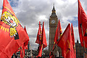 Tamil flags in front of Big Ben