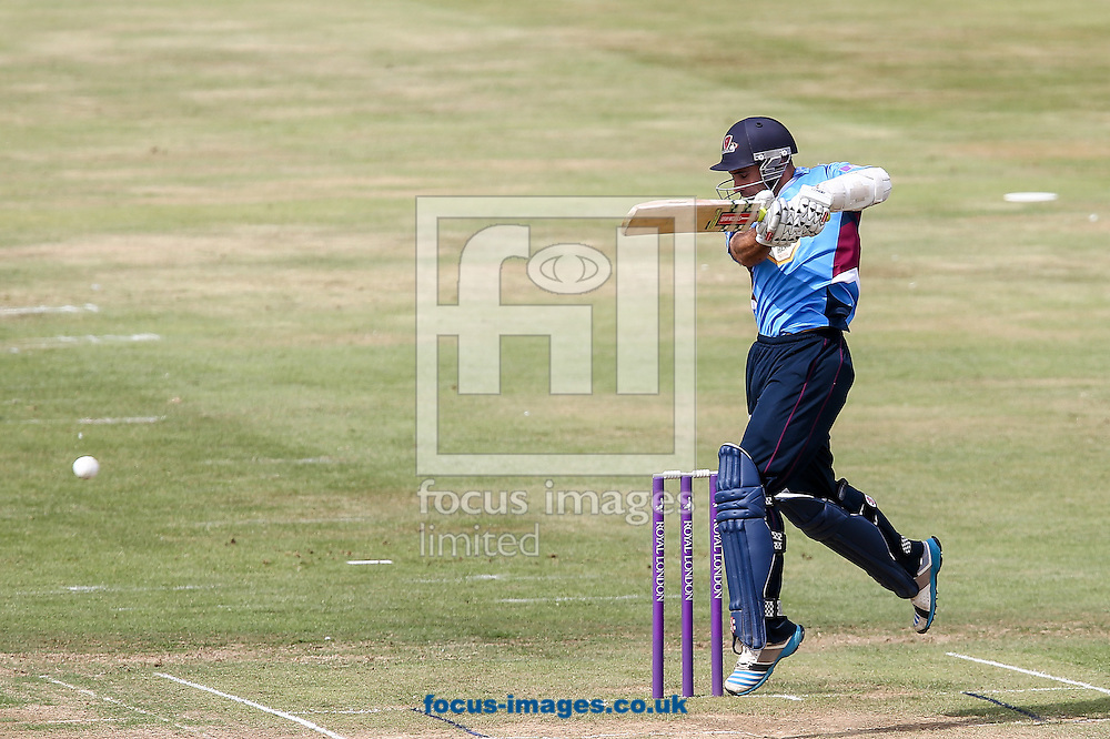 Kyle Coetzer of Northants Steelbacks hits the ball to the off side during the Tour Match match at the County Ground, Northampton, Northampton<br /> Picture by Andy Kearns/Focus Images Ltd 0781 864 4264<br /> 31/07/2014
