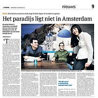 Tekst en beeld zijn auteursrechtelijk beschermd en het is dan ook verboden zonder toestemming van auteur, fotograaf en/of uitgever iets hiervan te publiceren <br /> <br /> Parool 23 oktober 2013: Griekse expats in Amsterdam