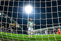 Luka Zahovic of Maribor scores a game-tying goal and Jefferson of Sporting during football match between NK Maribor and Sporting Lisbon (POR) in Group G of Group Stage of UEFA Champions League 2014/15, on September 17, 2014 in Stadium Ljudski vrt, Maribor, Slovenia. Photo by Matic Klansek Velej  / Sportida.com