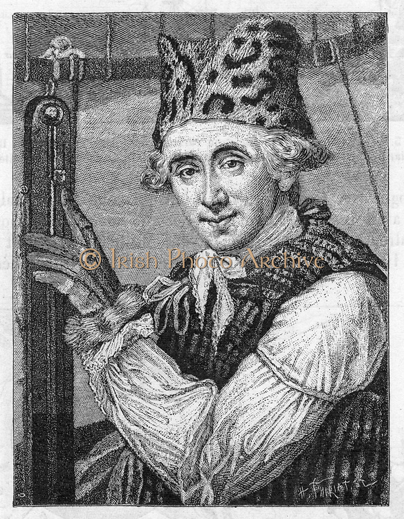Dr John Jeffries (1744-1819) American balloonist during a balloon ascent to investigate the atmospheric temperature, January 7th, 1785. (London, 1786). Engraving.