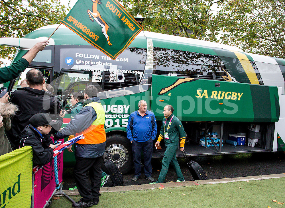 The SA team and captain Fourie Du Preez arrive prior to the Rugby World Cup Semi Final match between South Africa and New Zealand played at Twickenham Stadium, London on the 24th of October 2015. Photo by Liam McAvoy