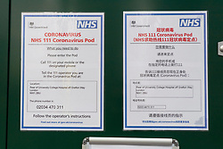 © Licensed to London News Pictures. 02/03/2020. London, UK. Signs on a National Health Service 111 Coronavirus pod positioned at the UCH hospital positioned at the UCH hospital in London. The pod will allow doctors to examine patients who may be feeling symptoms of the virus. Photo credit: Ray Tang/LNP