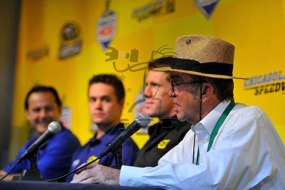 Joliet, IL - SEP 14, 2012:  Car owner, Jack Roush introduces Ricky Stenhouse, Jr. as driver of the Roush Fenway Best Buy Ford for 2013 as before the practice for the Geico 400 at the Chicagoland Speedway in Joliet, IL.