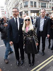 © London News Pictures. 17/11/2011. London, UK. Donatella Versace arriving at the Launch of the new Versace collection at H&M on Regent Street, London today (17/11/2011). Shoppers had queued for nearly 24 hours to be first in line for Versace's hotly anticipated collection : Ben Cawthra/LNP