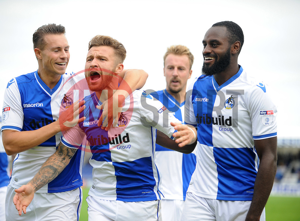 Matt Taylor of Bristol Rovers celebrates making it 2-2 with Billy Bodin and Hiram Boateng - Mandatory by-line: Neil Brookman/JMP - 10/09/2016 - FOOTBALL - Memorial Stadium - Bristol, England - Bristol Rovers v Rochdale - Sky Bet League One