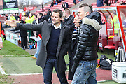 Forest Green Rovers Chairman Dale Vince and Forest Green Rovers manager, Mark Cooper during the EFL Sky Bet League 2 match between Swindon Town and Forest Green Rovers at the County Ground, Swindon, England on 13 January 2018. Photo by Shane Healey.