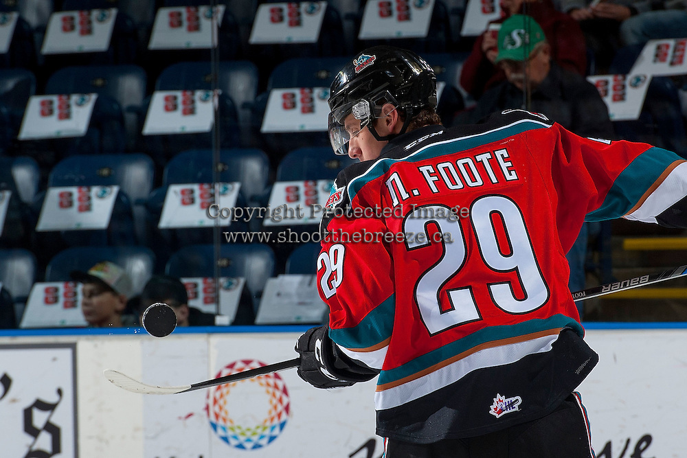 KELOWNA, CANADA - NOVEMBER 26: Nolan Foote #29 of the Kelowna Rockets warms up with the puck against the Regina Pats on November 26, 2016 at Prospera Place in Kelowna, British Columbia, Canada.  (Photo by Marissa Baecker/Shoot the Breeze)  *** Local Caption ***