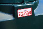Watchman Alarm alarmed oil tank notice sign, UK - 'This tank is alarmed'