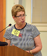 Marguerite Chandler speaks to the crowd while addressing the planning commission about a ban on fracking at Newtown Township Building Tuesday July 7, 2015 in Newtown, Pennsylvania. (Photo by William Thomas Cain)