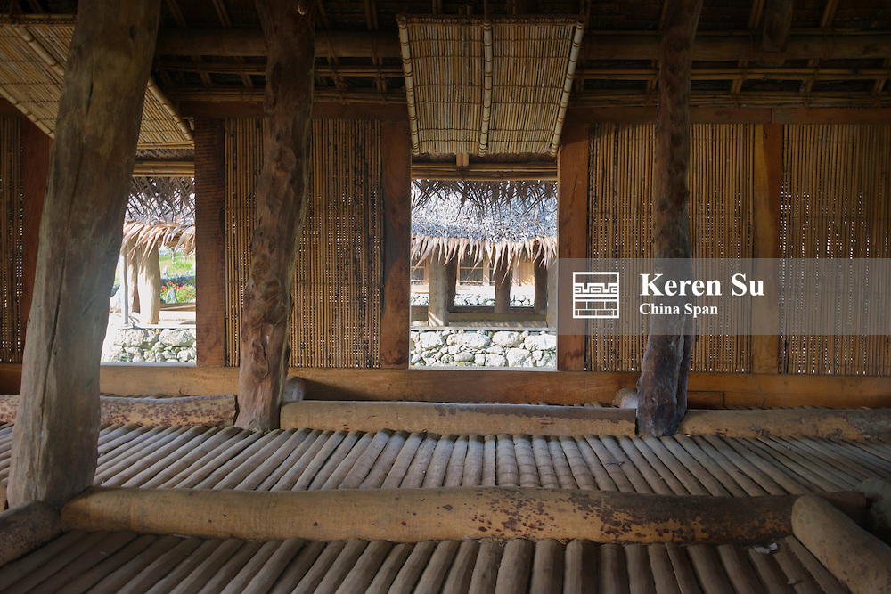 Inside a traditional men's house, Yap Island, Federated States of Micronesia