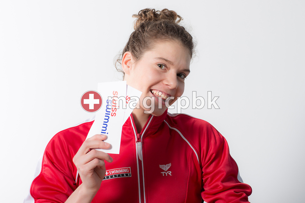 Swimmer Svenja STOFFEL of Switzerland poses with Swiss Swimming sticker during a portrait session during the International Swim Meet Uster 2014 in Uster, Switzerland, Saturday, Jan. 25, 2014. (Photo by Patrick B. Kraemer / MAGICPBK)