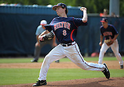 Milton pitcher Alex Schnell throws to Roswell in the fifth inning of their GHSA AAAAAA State Baseball Championship game, Monday, May 27, 2013, in Milton, Ga.   David Tulis/AJC Special