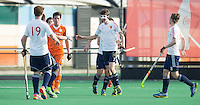 ROTTERDAM -   Rolf Steenmetser  (Neth.) with Jack Whelan (Eng)  Practice Match Hockey : Netherlands Boys U18  v England U18 .  COPYRIGHT KOEN SUYK