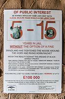 Swaziland Judicial Support against rhino poaching, Hlane Royal National Park, Swaziland