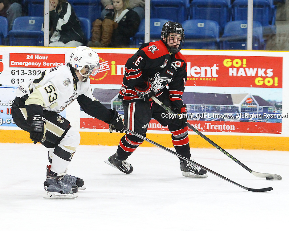 TRENTON, ON  - MAY 3,  2017: Canadian Junior Hockey League, Central Canadian Jr. &quot;A&quot; Championship. The Dudley Hewitt Cup Game 4 between Georgetown Raiders and Trenton Golden Hawks.   Josh Allan #53 of the Trenton Golden Hawks tries to stop Jack Hughes #16 of the Georgetown Raiders during the second period<br /> (Photo by Alex D'Addese / OJHL Images)