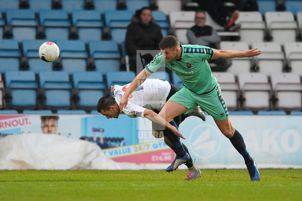 TELFORD COPYRIGHT MIKE SHERIDAN Aaron Williams of Telford  battles for the ball with Chris Mason of Spennymoor during the Vanarama National League Conference North fixture between AFC Telford United and Spennymoor Town on Saturday, November 16, 2019.<br /> <br /> Picture credit: Mike Sheridan/Ultrapress<br /> <br /> MS201920-030