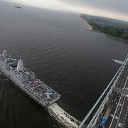 """190528-N-YZ252-828 NEW YORK (May 28, 2019) USS New York (LPD 21) sends a special message to New York City by spelling out """"I ♥ NY"""" on the ship's flight deck at the conclusion of 2019 Fleet Week New York (FWNY), May 28. FWNY, now in its 31st year, is the city's time-honored celebration of the sea services. It is an unparalleled opportunity for the citizens of New York and the surrounding tri-state area to meet Sailors, Marines and Coast Guardsmen, as well as witness firsthand the latest capabilities of today's maritime services. (U.S. Navy photo by Chief Mass Communication Specialist Roger S. Duncan/Released)"""