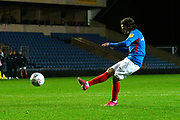 Ryan Williams (7) of Portsmouth takes a penalty during the shoot out at full time after a 2-2 draw during the Leasing.com EFL Trophy match between Oxford United and Portsmouth at the Kassam Stadium, Oxford, England on 8 October 2019.