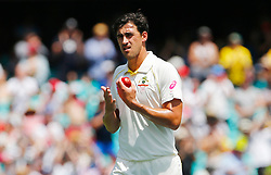 Australia's Mitchell Starc applauds after it was announced Alastair Cook brought up his 1200th test run during day four of the Ashes Test match at Sydney Cricket Ground.