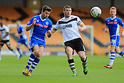 Joe Rafferty, Carl Dickinson during the Sky Bet League 1 match between Port Vale and Rochdale at Vale Park, Burslem, England on 23 April 2016. Photo by Daniel Youngs.