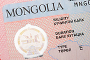 Fragment of the Mongolian tourist entry visa.
