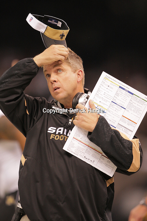 2008 September 28: New Orleans Saints Head Coach Sean Payton on the sideline during the NFL week four game between the San Francisco 49ers and the New Orleans Saints at the Louisiana Superdome in New Orleans, LA.