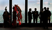 First Nations in their traditional clothes and bankers in their traditional clothes following a ceremony announcing the opening of Native Bank in Toronto, Ont.  (1996)