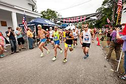 Great Cranberry Island Ultra 50K road race: race start Gary, Reno, Jason, Eric