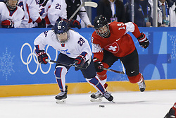 February 18, 2018 - Pyeongchang, KOREA - Korea forward Jingyu Lee (29) and Switzerland defenseman Christine Meier (19) in a hockey game between Switzerland and Korea during the Pyeongchang 2018 Olympic Winter Games at Kwandong Hockey Centre. Switzerland beat Korea 2-0. (Credit Image: © David McIntyre via ZUMA Wire)