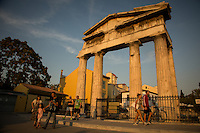 Athens, Greece- September 13, 2014: The Gate of Athena Archegetis in the Plaka neighborhood at sunset. Constructed in 11 BCE, the gate is just one of the many reminders of antiquity in the city center.  CREDIT: Chris Carmichael for The New York Times