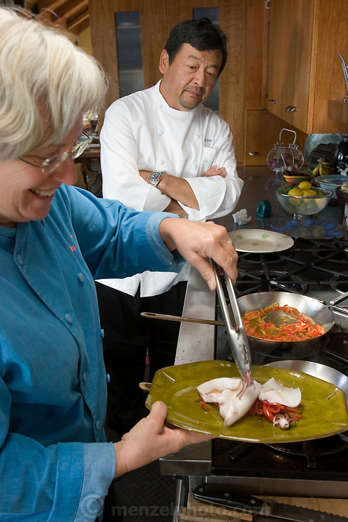 Cindy Pawlcyn cooking at home in the Napa Valley. St. Helena, CA