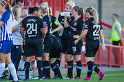 Chelsea FC having a water break during the FA Women's Super League match between Brighton and Hove Albion Women and Chelsea at The People's Pension Stadium, Crawley, England on 15 September 2019.