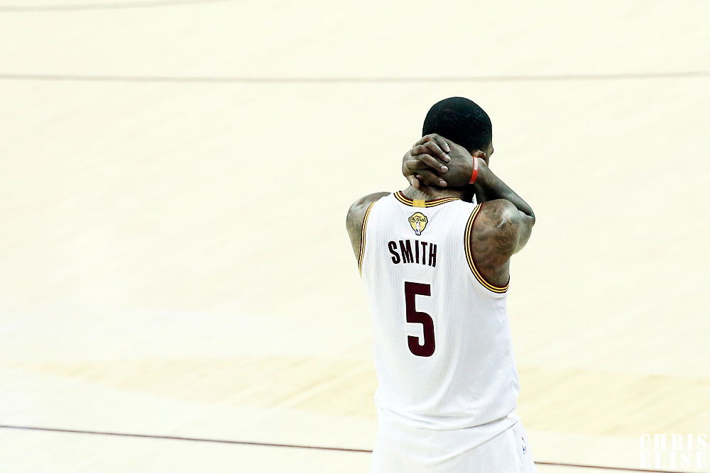 09 June 2017: Cleveland Cavaliers guard JR Smith (5) reacts during the Cleveland Cavaliers 137-11 victory over the Golden State Warriors, in game 4 of the 2017 NBA Finals, at  the Quicken Loans Arena, Cleveland, Ohio, USA.