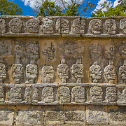 Glyphs on wall. Chichen Itza, Mexico.