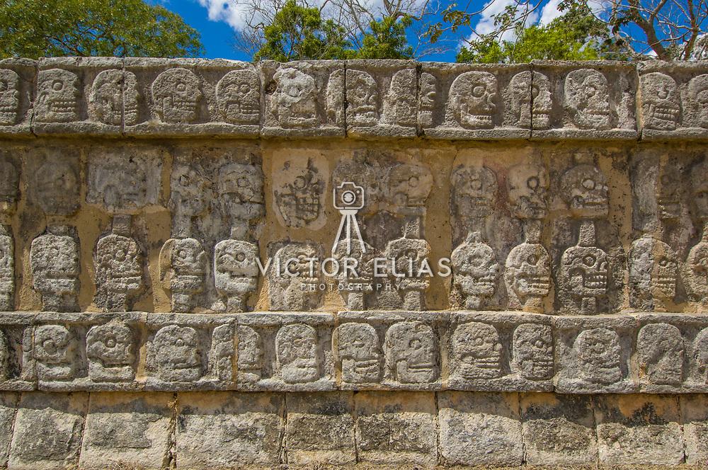 Glyphs on wall. Chichen Itza, Mexico.
