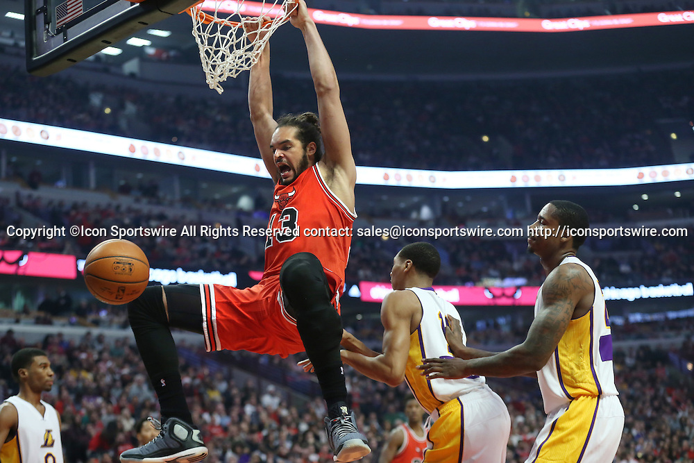 Dec. 25, 2014 - Chicago, IL, USA - Chicago Bulls center Joakim Noah (13) dunks the ball during the second period on Dec. 25, 2014 at the United Center in Chicago. The Bulls beat the Lakers 113-93