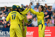 Wicket - Ashleigh Gardner of Australia celebrates taking the wicket of Amy Jones of England during the 3rd Vitality International T20 match between England Women Cricket and Australia Women at the Bristol County Ground, Bristol, United Kingdom on 31 July 2019.
