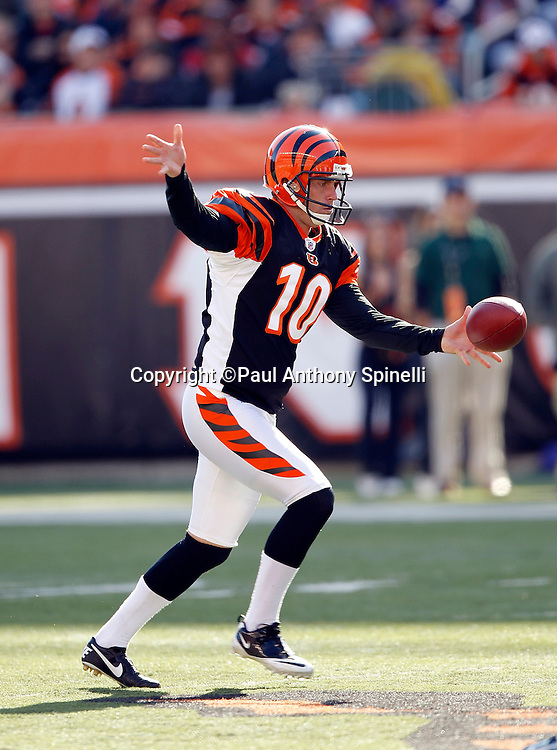 Cincinnati Bengals punter Kevin Huber (10) punts during the NFL week 8 football game against the Miami Dolphins on Sunday, October 31, 2010 in Cincinnati, Ohio. The Dolphins won the game 22-14. (©Paul Anthony Spinelli)
