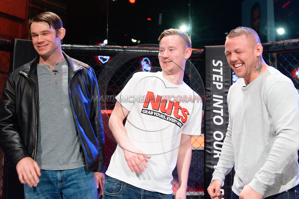 """LONDON, ENGLAND, March 4, 2014: Forrest Griffin, Joe Barnes and Ross Pearson are pictured ahead of the broadcast of BT Sport's """"Beyond the Octagon"""" programme on Tuesday, March 4, 2014 © Martin McNeil for IPC Media"""
