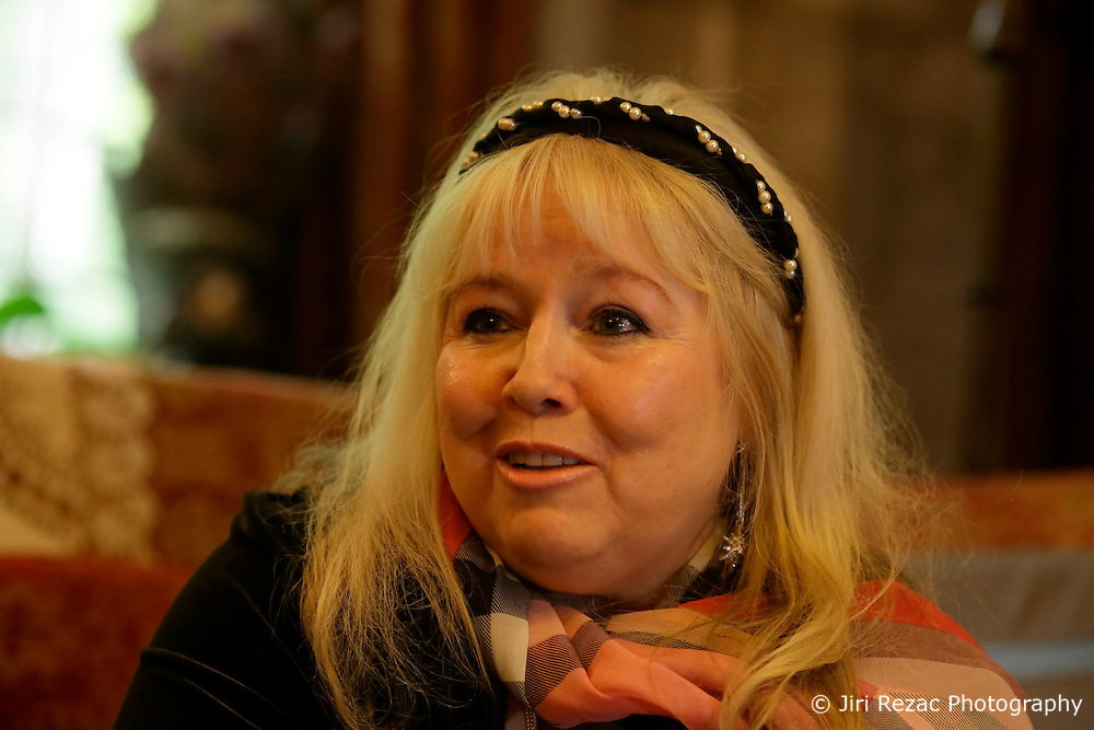 UK ENGLAND THAME 27AUG14 - Dwina Gibb, widow of Bee Gee Robin Gibb reacts during an interview at her home in Thame, Oxfordshire.<br /> <br /> <br /> <br /> The Bee Gees have sold more than 120 million records worldwide, making them one of the world's best-selling music artists of all time.<br /> <br /> jre/Photo by Jiri Rezac<br /> <br /> <br /> <br /> &Acirc;&copy; Jiri Rezac 2014