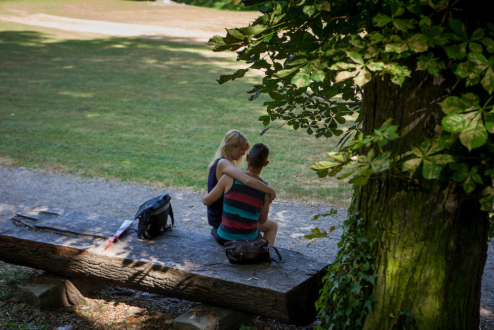 """A young couple is spending their freetime on a Saturday afternoon at the """"Deer Moat (Jelenni prikop)""""."""
